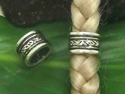 Small Beard Bead with Pattern 925 Silver Hair Bead 6,5 MM DM
