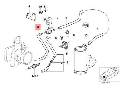 Genuine BMW E90 E90N E92 Fuel Tank Breather Valve Hose Elbow OEM 13907838439