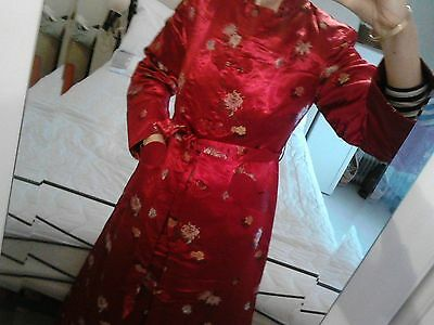 Original 1950's Chinese dressing gown/house coat size 8/10 RED