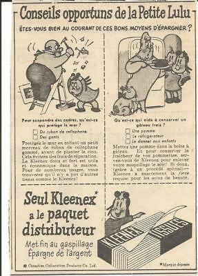 1951 Kleenex Tissues With Little Lulu Original Ad In French