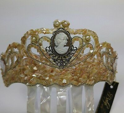Natural Mother of Pearl Tiara, Antique silver color embellishments Vintage style
