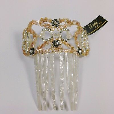 Natural Mother of Pearl Tiara, with Antique silver color embellishments, Bride