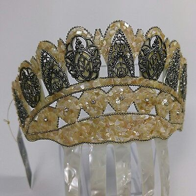 Natural Mother of Pearl Tiara, with  Antique silver color embellishments