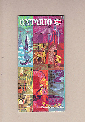 1962 Esso Ontario Road Map Imperial Oil Limited Copyright General Drafting Co,
