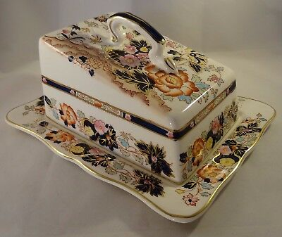 Masons Ironstone Mandarin Large Lidded Cheese Butter Dish Stand & Cover c1935 VG
