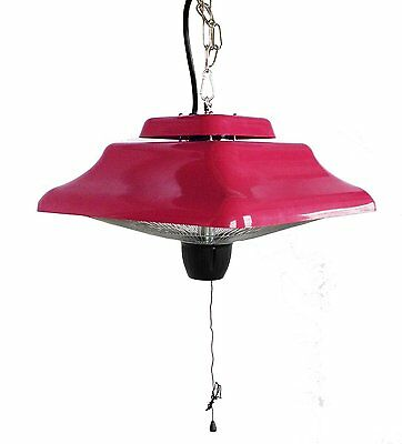 Paramount Square Retro Rubine Red Hanging Infrared Heater - Patio Heater
