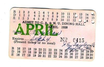 Colored Agriculture & Normal University Dining Hall Card 1939 Langston Oklahoma