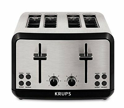 KRUPS KH3140 Stainless Steel Toaster with Bagel Function and Wide Slots, 4-Slice