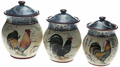 Lille Rooster 3-Piece Canister Set