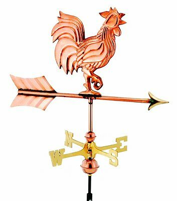 Good Directions 802PR Rooster Cottage Weathervane, Polished Copper & Roof Mount