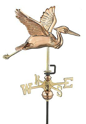 Good Directions 8805PR Blue Heron Cottage Weathervane Polished Copper Roof Mount