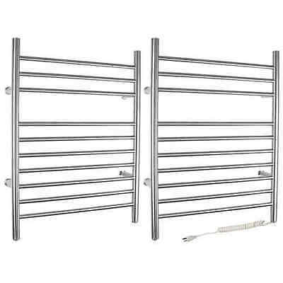 WarmlyYours Infinity Hard Wire Brushed Stainless Steel Finish Towel Warmer