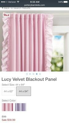NIP Set 2 Pottery Barn Kids Lucy Velvet Blackout Curtains 96 Inches PINK