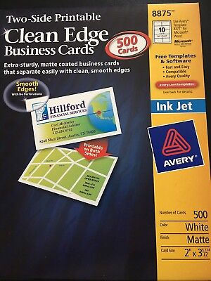 Clean Edge Business Cards Inkjet 500 Avery 8875
