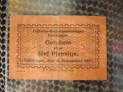 WWI GERMANY POW Camp currency CELLELAGER 21/11/1917
