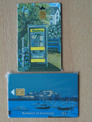 2 guernsey mint chip phone cards  - factory sealed