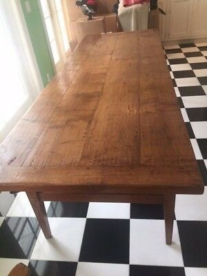 Large 9ft Long Antique Style French Refractory Dining Table.