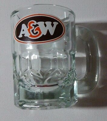 "Vintage A & W Root Beer Glass Mini Mug, 31/8"" Tall, 21/4"" Diameter No. 18 Mark"