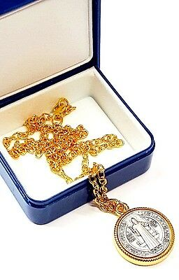 San Benito St Benedict Medal Silver Gold Tone Necklace-Pope blessing on request