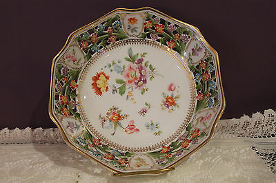 """R W Bavaria Floral 9-1/2"""" Bread Basket - Open Lace - Hand Painted"""