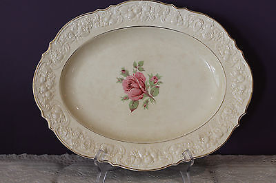"""Gorgeous Vintage Crown Ducal 14"""" Oval Platter - Ivory With Pink Rose - Gold Trim"""