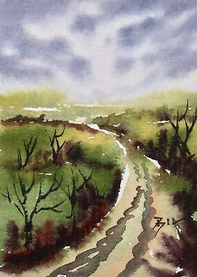 ACEO Original Art Watercolour Painting by Bill Lupton  - Country Track