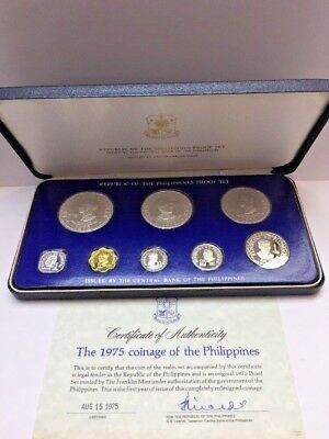1975 Coinage Of The Philippines 8 Pc Proof Set With Coa -50 Piso Sterling Silver