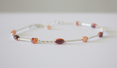Orange Anklet Salmon and Sterling Silver Beach Jewelry