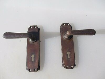 Vintage Bronze Coloured Lever Door Handles Architectural Old Art Deco YALE