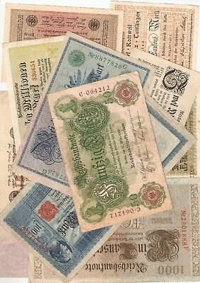 1906 - 1923 job lot of old German banknotes good condition good lot 10 different