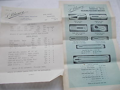 2 Blamey of Honiton Milking Machine Brushes Price Lists - 1 dated 1956