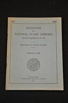 Post-Wwi Us Militia Bureau Publication 'questions For National Guard Officers'