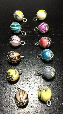 12 Assorted Handmade Christmas Tree Baubles, Dolls House Miniatures 1:12 Scale