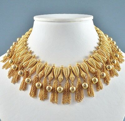 Vintage Necklace Trifari 1960s Goldtone Cleopatra Style Collar Bridal Jewellery