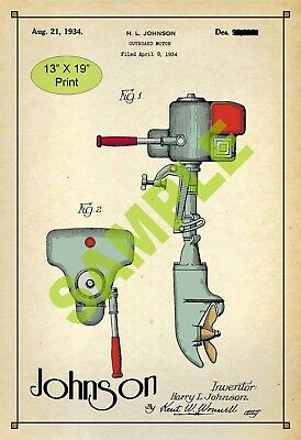 U.S. Patent Drawing Art Print Johnson Outboard Boat Motor2 Sports Room Poster