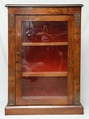 Antique Walnut Display or Music Cabinet Made in England Satinwood Inlay