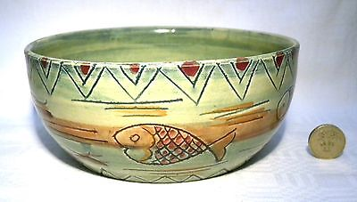 "Art Deco Shorter & Son Aztec 6.3/4"" Bowl  Signed Mabel Leigh"