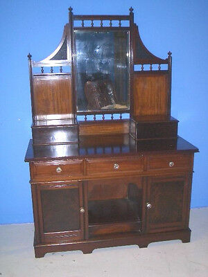 Antique Mahogany Vanity Dressing Table Made in England Dog or Cat Kennel Below