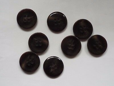 8pc 22mm Pitch Black /& Dark Grey Feathered Effect Mock Horn 4 Hole Button 5534