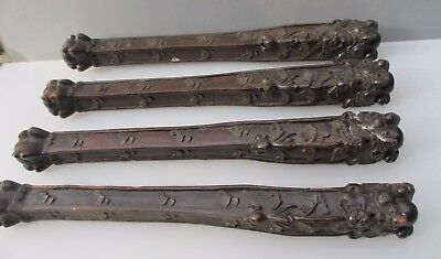 "Victorian Carved Wooden Furniture Legs Tale Chair Antique Lion Gilt Leaf  22.5""H"