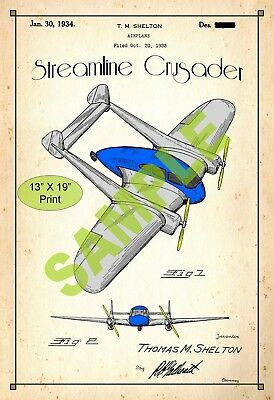 U.S. Patent Drawing Art Print Crusader Toy Plane Childs Play Room Poster