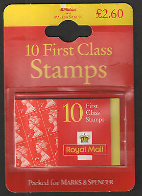 1997-98 Marks & Spencer Retail Pack 10 x 1st Class Stamp Booklet. Sealed.