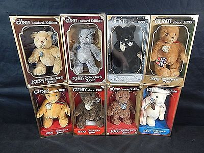 Gund Limited Edition  Collector Bear In Box Set From 1985-1992 Lot Of 8 New
