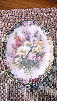 "Lena Liu's Floral Cameos "" Remembrance "" #1 Bradford Exchange Ltd Edt Oval Plate"