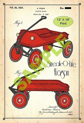 U.S. Patent Drawing Art Print Streak-o-lite Wagon Childs Play Room Poster Color