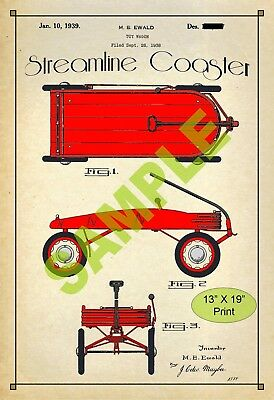 U.S. Patent Drawing Art Print Streamline Wagon Childs Play Room Poster Color