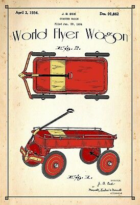 U.S. Patent Drawing Art Print World Flyer Wagon Childs Play Room Poster Color