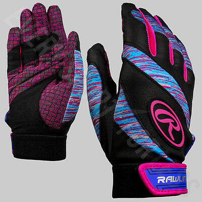 Rawlings Eclipse Women's Softball Batting Gloves - Pink / Cyan (NEW) Lists @ $17