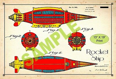 U.S. Patent Drawing Art Print Rocket Ship Toy Childs Play Room Poster