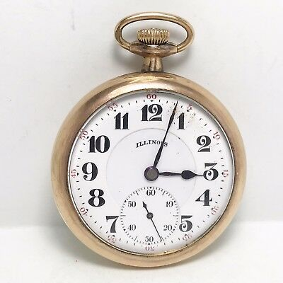 No Reserve! 1921 Illinois 16sz 17j Gold Filled Pocket Watch (#929)